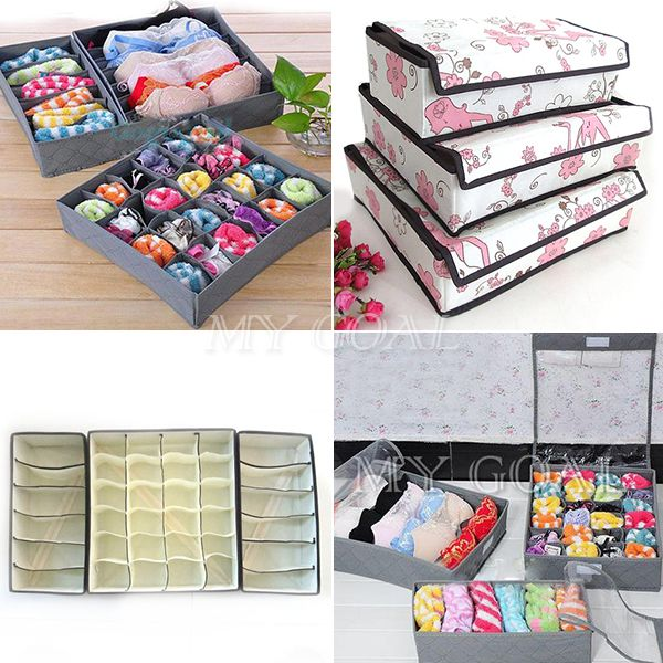 3pcs Clothes Wardrobe Organiser Socks Tie Bra Tidy Storage Box Drawer Divider