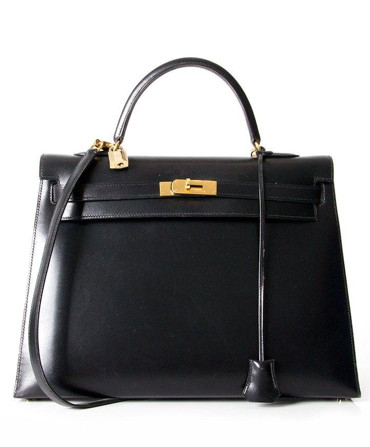 8a7bf89352 Hermès Black Kelly 35 box calf with gold hardware