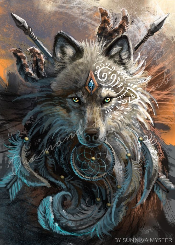 Jaw Dropping Artwork That You Can Do At Home No Experience Required This 5d Diamond Painting By Diamon Wolf Painting Native American Wolf Wolf Spirit Animal
