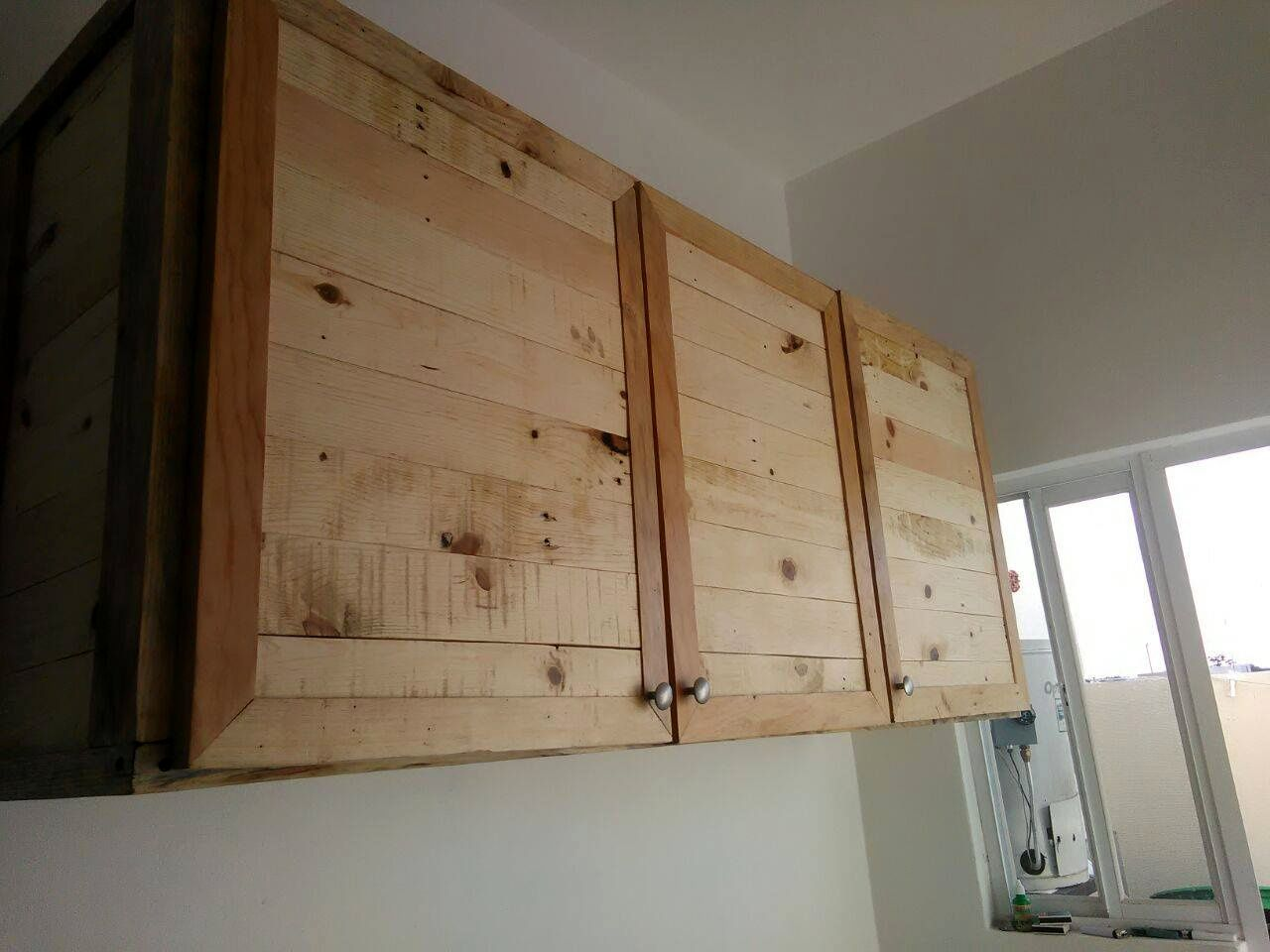 Set of 3 wall hanging kitchen cabinets made of pallets