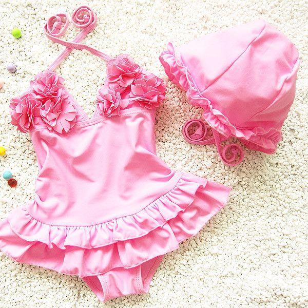 One Piece Swimwear Kids Girls Flower Swimsuit Dress with Tutu Skirt Bathing…