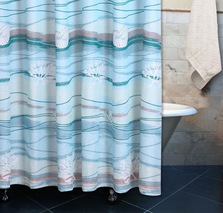 Coastal Beach Nautical Blue Fabric Shower Curtain 72 Inches Length