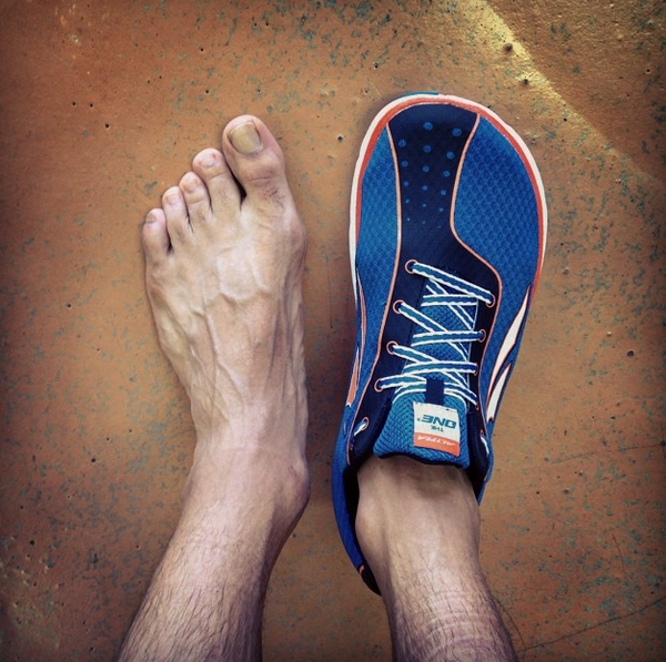 The Altra running shoe has a wide toe
