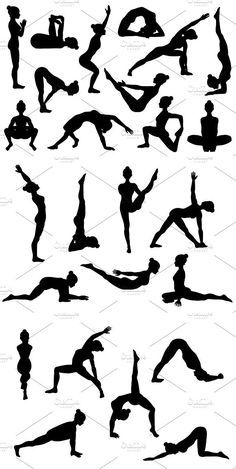 25 yoga poses silhouettes part 3 in 2020  yoga