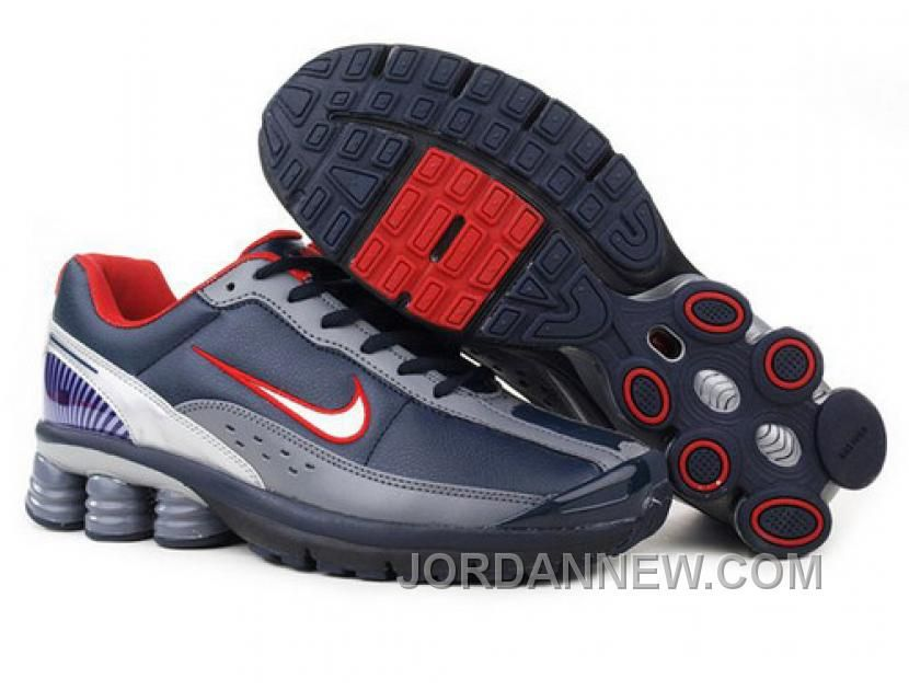Discount Authentic Mens Nike Shox R4 Shoes Dark Navy/White/Blue