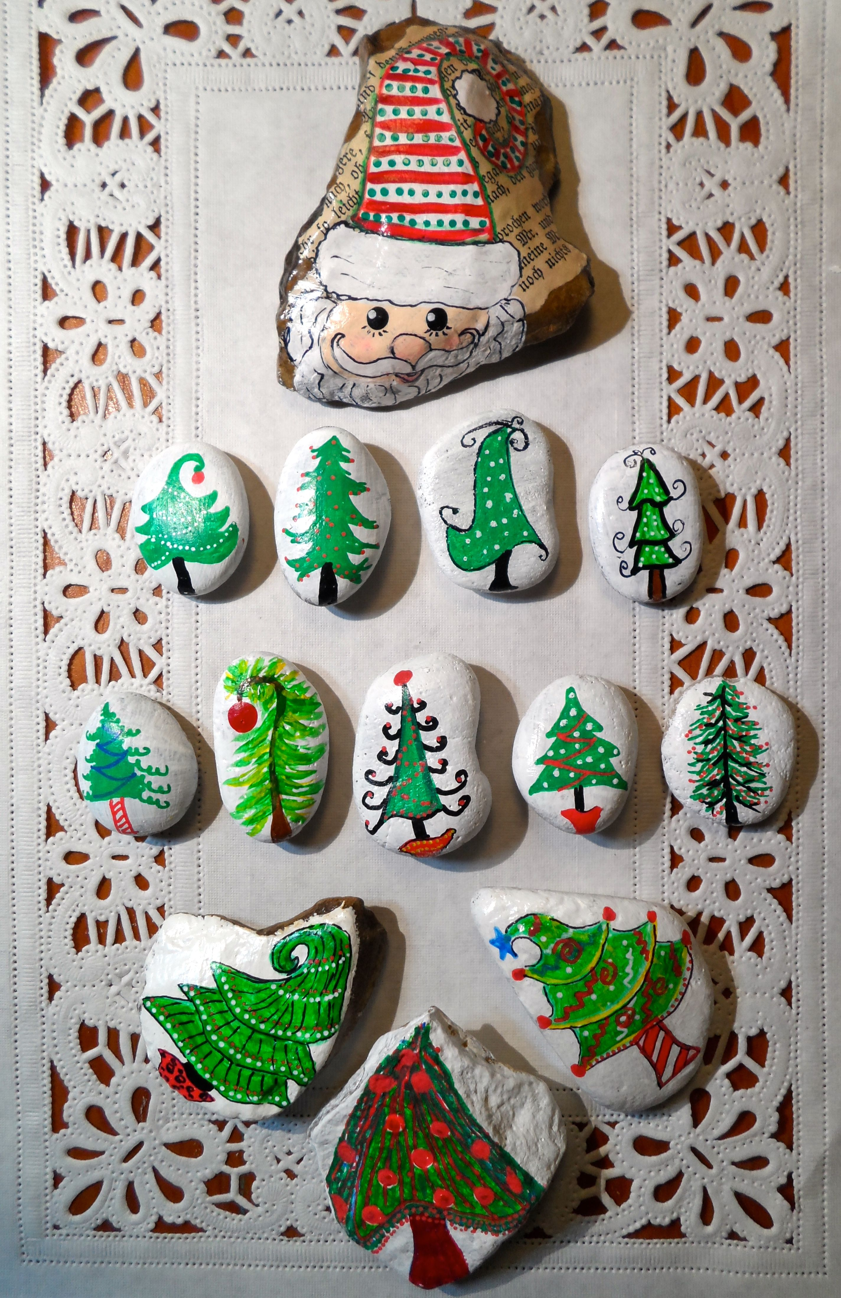 hand painted Santa and Christmas trees on rocks whimsical fun MBR