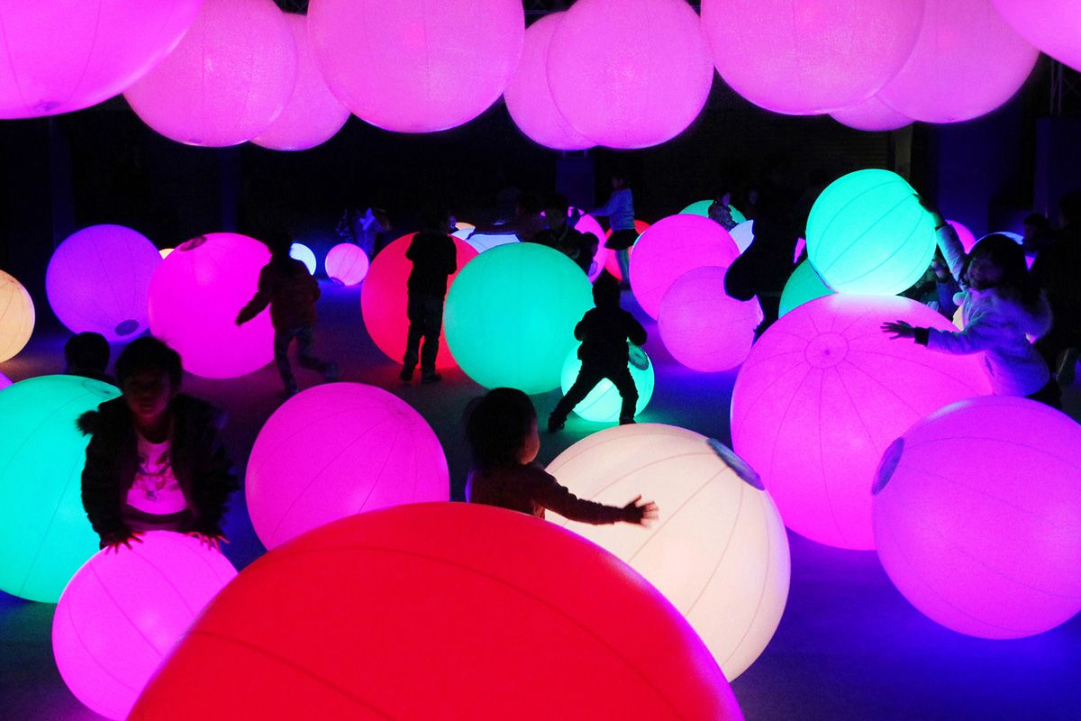 """Digital art produced by TeamLab, an """"Ultra Technologist"""" organization that merges science, technology, art and design, with an interactive Future Park."""