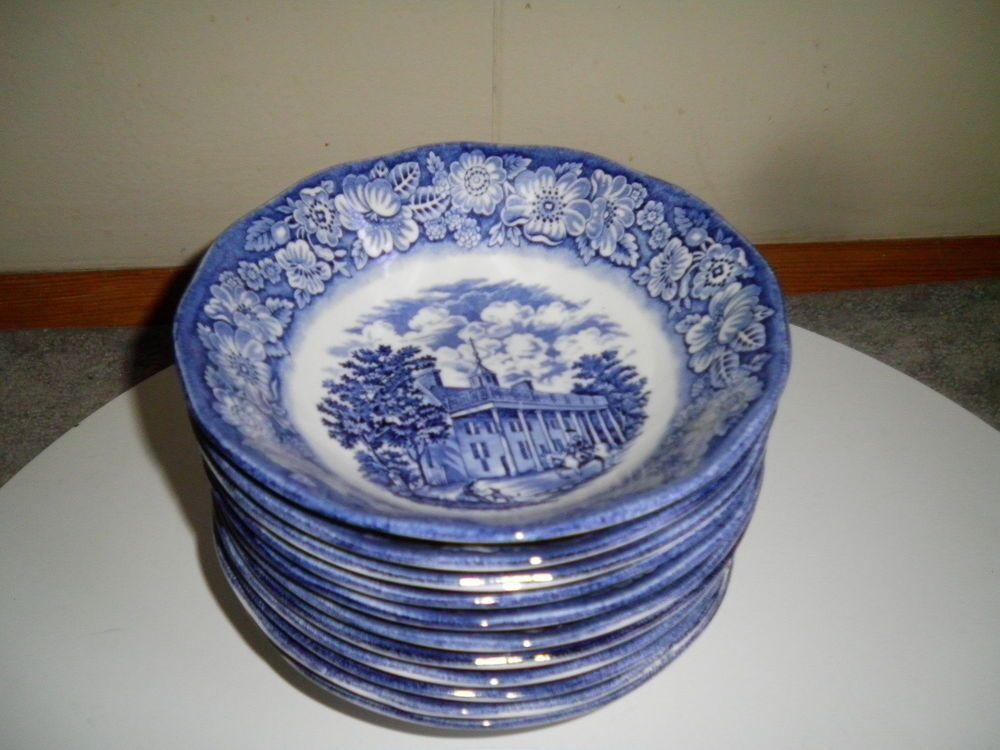 Set of 11 Vintage Staffordshire LIBERTY BLUE 6 3/8  Cereal Bowls ~ Mount & Set of 11 Vintage Staffordshire LIBERTY BLUE 6 3/8