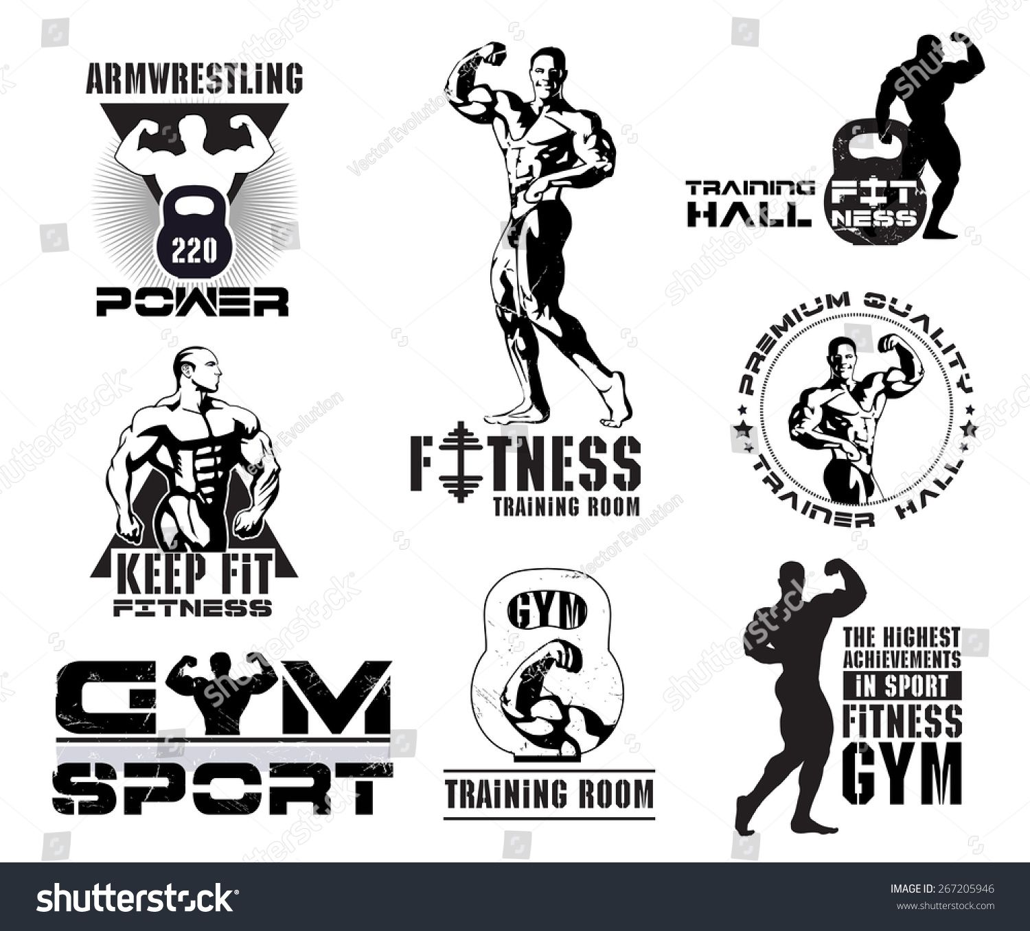 Bodybuilding logotype sign symbol. Fitness room logos