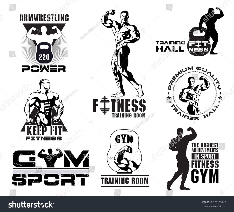 Bodybuilding logotype sign symbol. Fitness room logos