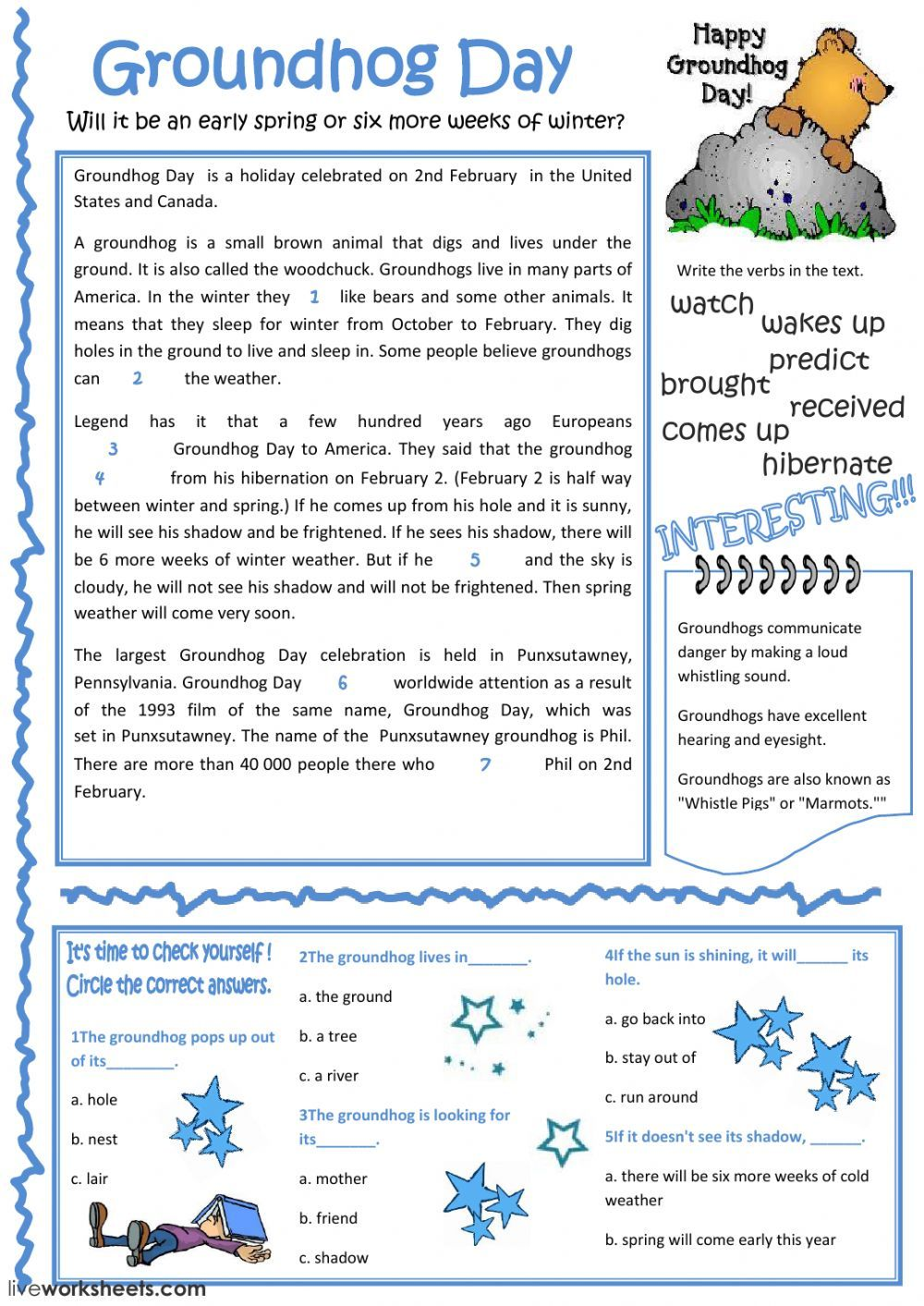 Reading Comprehension Interactive And Downloadable Worksheet You Can Do The Exercises Online Or Esl Reading Comprehension Groundhog Day Reading Comprehension [ 1413 x 1000 Pixel ]