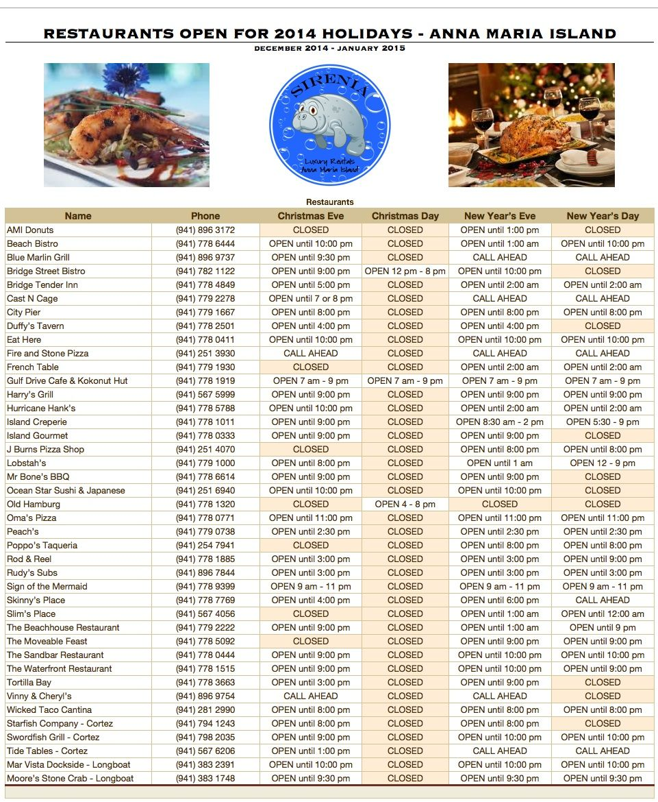 Restaurants Open for Christmas and New Year\'s holidays on Anna Maria ...