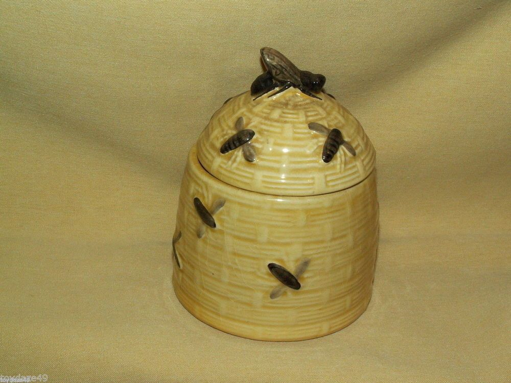 HONEY POT 2 PC DISH JAM JELLY VINTAGE WESTERN GERMANY 58 2720 HIVE BEE