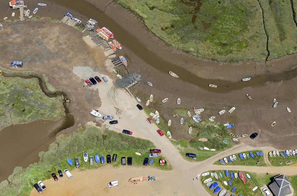 Morston Quay is in the Blakeney National Nature Reserve and run by the National Trust - North Norfolk aerial image