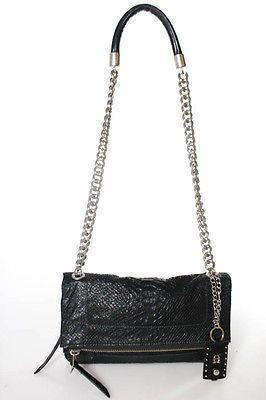 Olivia Harris Black Snakeskin Chain Strap Fold Over Crossbody Handbag