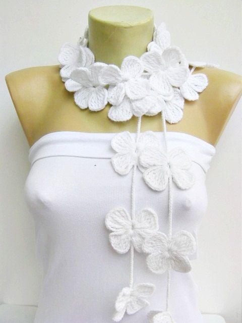 crochet lariat ,flower scarf. $25.   tejidos   Pinterest   Las ...
