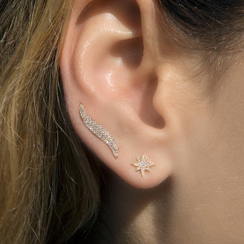 14kt White Gold Diamond North Star Stud Earrings With Images Star Earrings Stud White Gold Earrings Studs Diamond Star Earrings