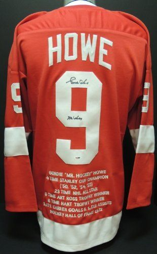 online store d8451 747cf Gordie Howe Autographed Detroit Red Wings Red Jersey with MR ...