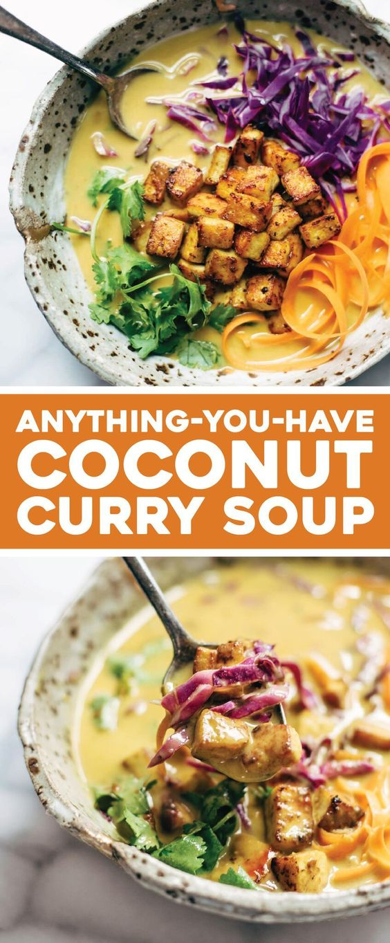 Anything-You-Have Coconut Curry Soup Coconut Curry Soup - this easy recipe can be made with almost ANY vegetables you have on hand! Silky-smooth and full of flavor. Vegetarian and vegan!