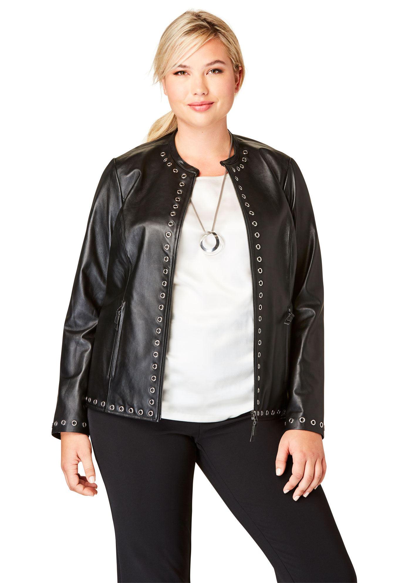 Embellished Leather Jacket Women's Plus Size Clothing