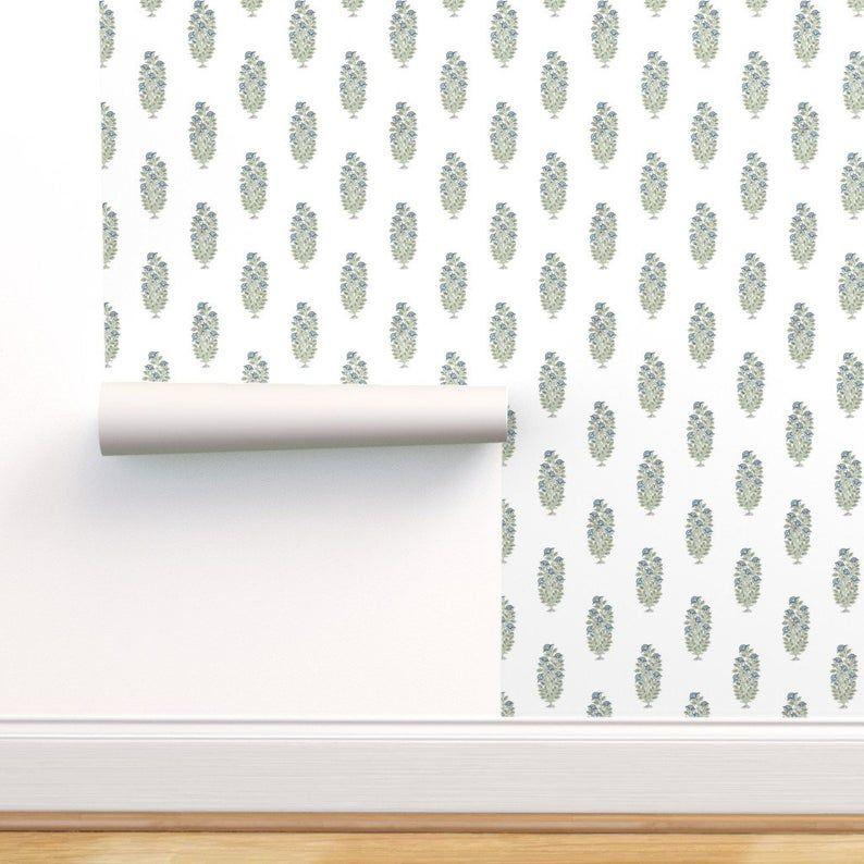 Floral Block Print Waterscape Removable Wallpaper Etsy In 2021 Floral Blocks Block Print Removable Wallpaper