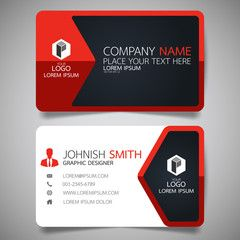 red modern creative business card and name card horizontal simple