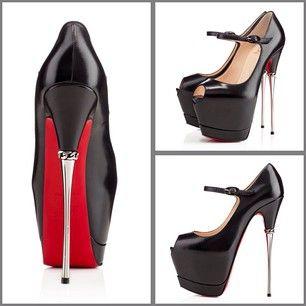 7d9a4a7d0393 Louboutin Printz 160mm in Black Leather w  silver metal heel