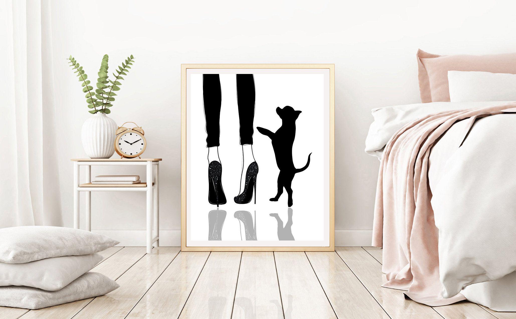 Chihuahua Wall Art Woman With Dog Art Dog Mom Gift High Etsy In 2020 Dachshund Wall Art Dog Mom Gifts Dog Wall Art