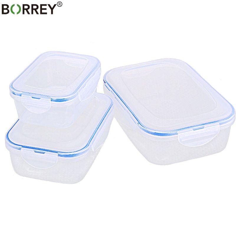 Borrey 3pcs Plastic Food Storage Box Set Fridge Freezer Food