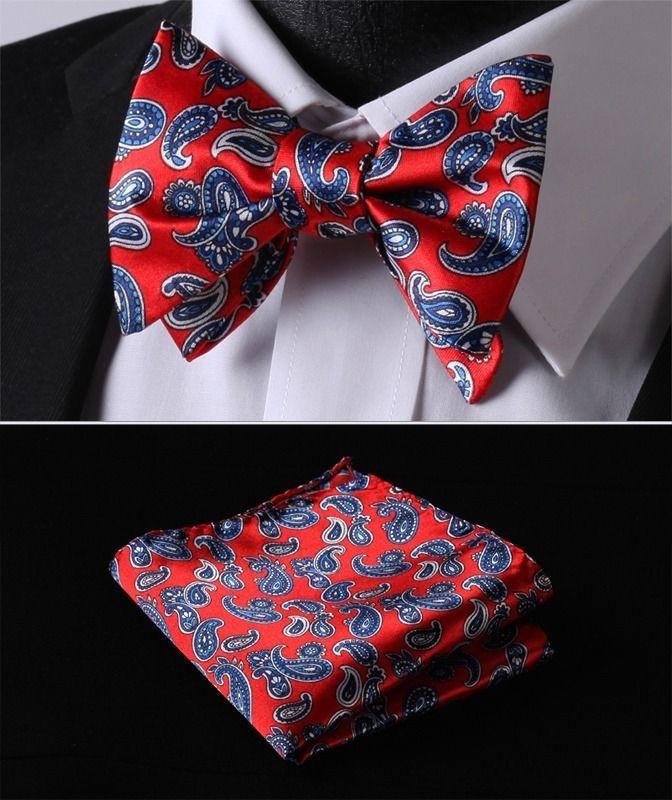 628b716e282b BY1R Red Blue Paisley Bowtie Silk Men Self Bow Tie Butterfly Handkerchief  set #New #BowTie
