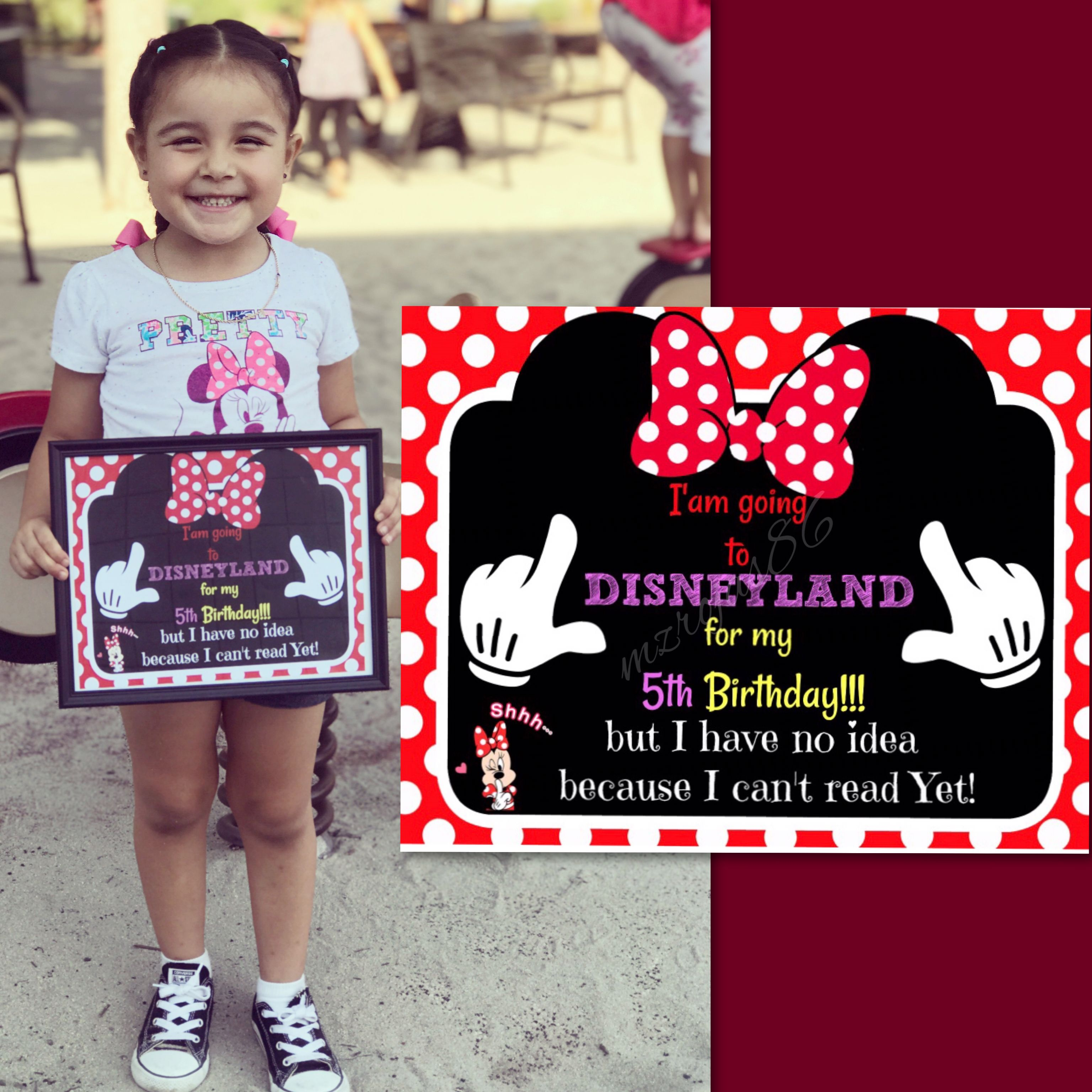 Cute Disneyland Surprise Sign I Made For My Daughter's 5th