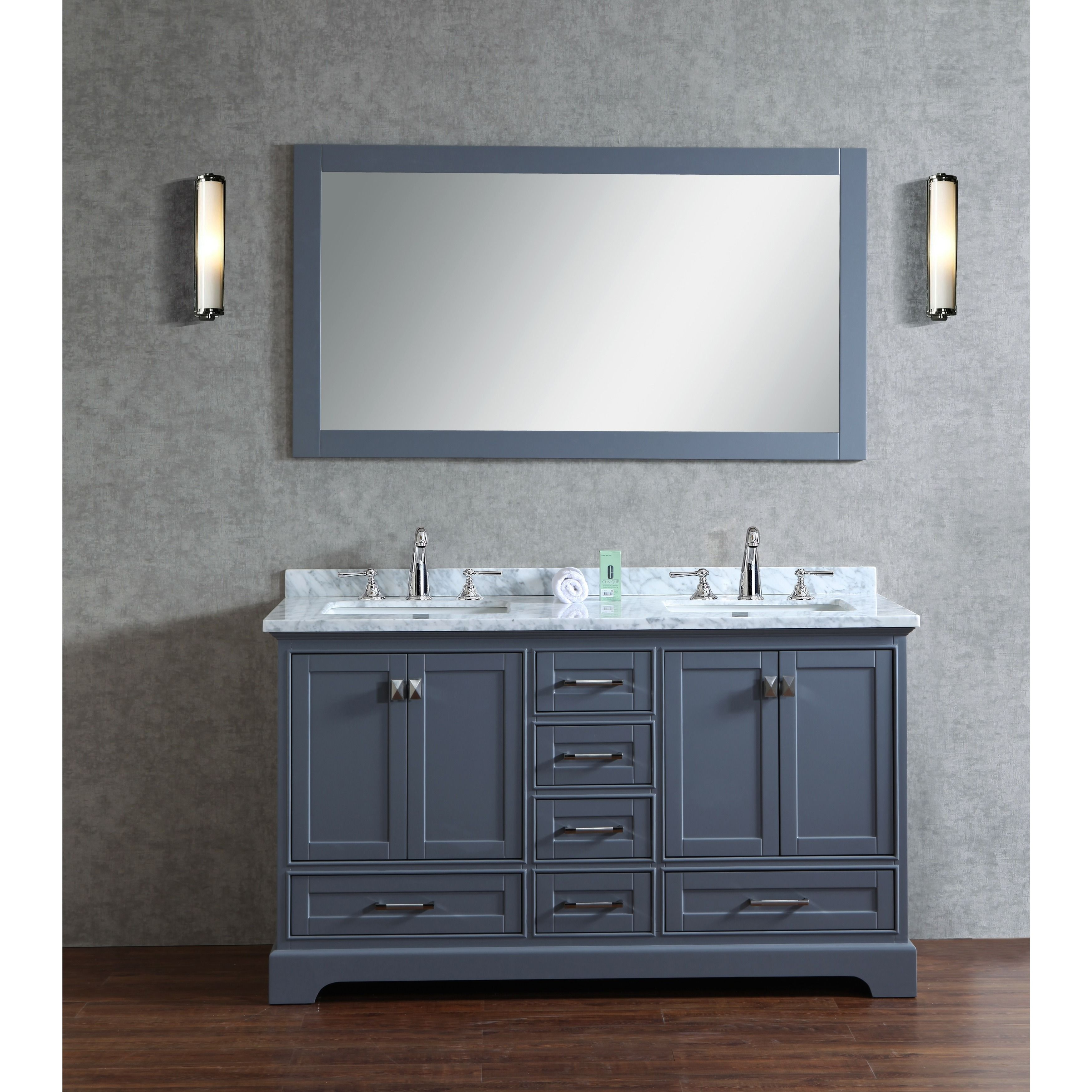 Stufurhome Grey 60 Inch Double Sink Bathroom Vanity Set With
