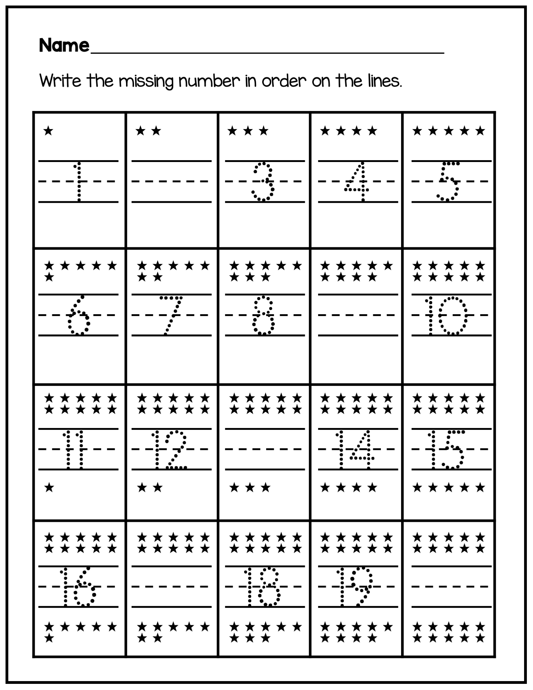 Tracing Numbers 1 20 And Fill In The Missing Number In