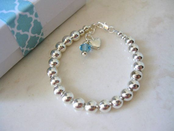 Tiffany Inspired Baby Bracelet Birthstone Sterling Silver Pearl First Pearls Charm Flower