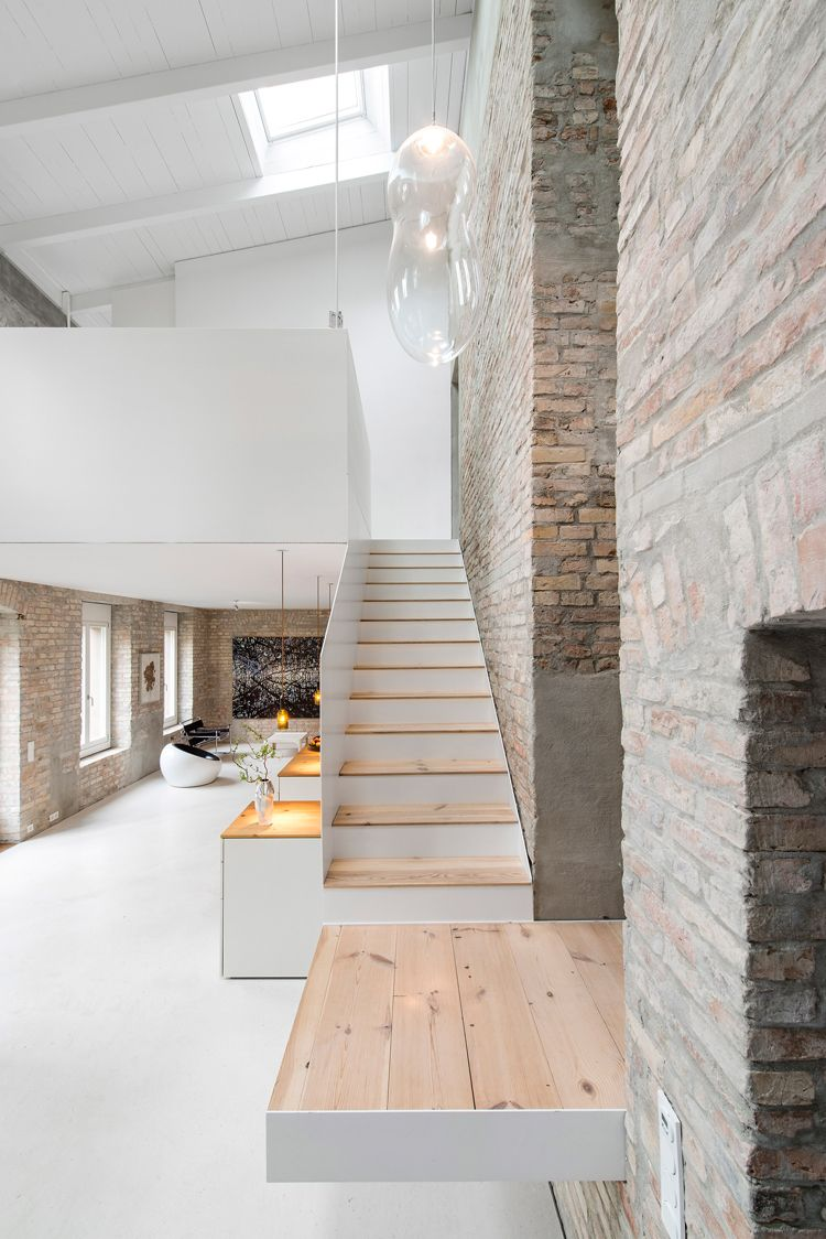 modern house interiors%0A Conversion d u    une ancienne maison de meunier en maison contemporaine par  asdfg Architekten  Interior Stairs DesignWhite House InteriorModern