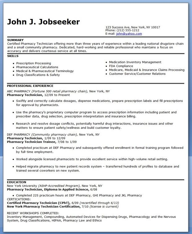 Pharmacy Technician Resume Sample (Experienced) Creative Resume