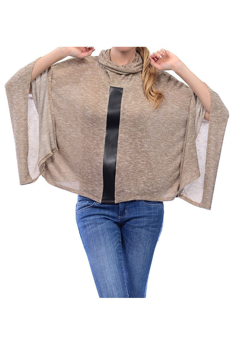 Golden Knit Batwing Oversized Poncho Sweater  5f6f409d2