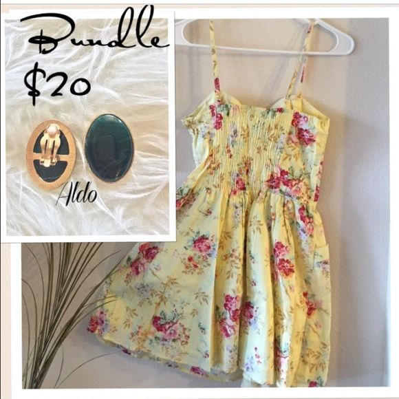 Bundle Deal On Aldo Clipon Earrings & Floral Dress Bundle!!! Aldo Emerald Clip On Earrings and Max Floral Dress. Questions are welcome. 😊 just wore the dress once ALDO Dresses