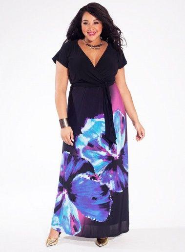 9e58b2302f4d Maxi šaty ALISON od Igigi pro plnoštíhlé - modrá květina Nadměrné Oděvy