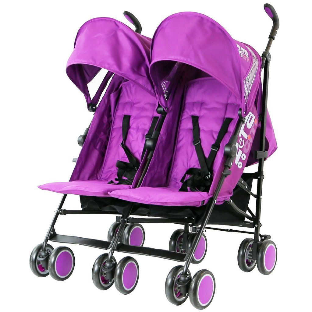 Newborn Toddler Double Pram Zeta Citi Twin Stroller Buggy Pushchair Plum Purple
