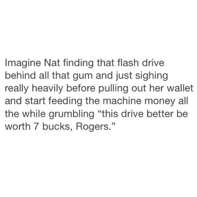 ''This drive better be worth 7 bucks, Rogers.'' Hahahaha!! / Captain America : The Winter Soldier