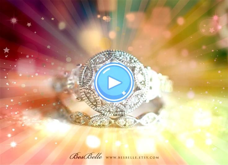 cttw  Art Deco Bridal Set Ring  Vintage Art Deco Engagement Ring w All or Half and Wi 242 cttw  Art Deco Bridal Set Ring  Vintage Art Deco Engagement Ring w All or Half a...