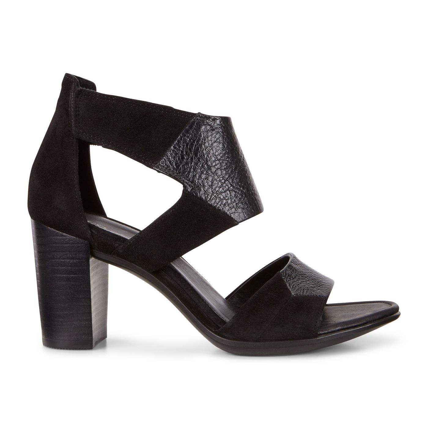 ECCO Womens Mule Sandals Size 365 6 Black Leather Strapy Wedge Heel Sandal