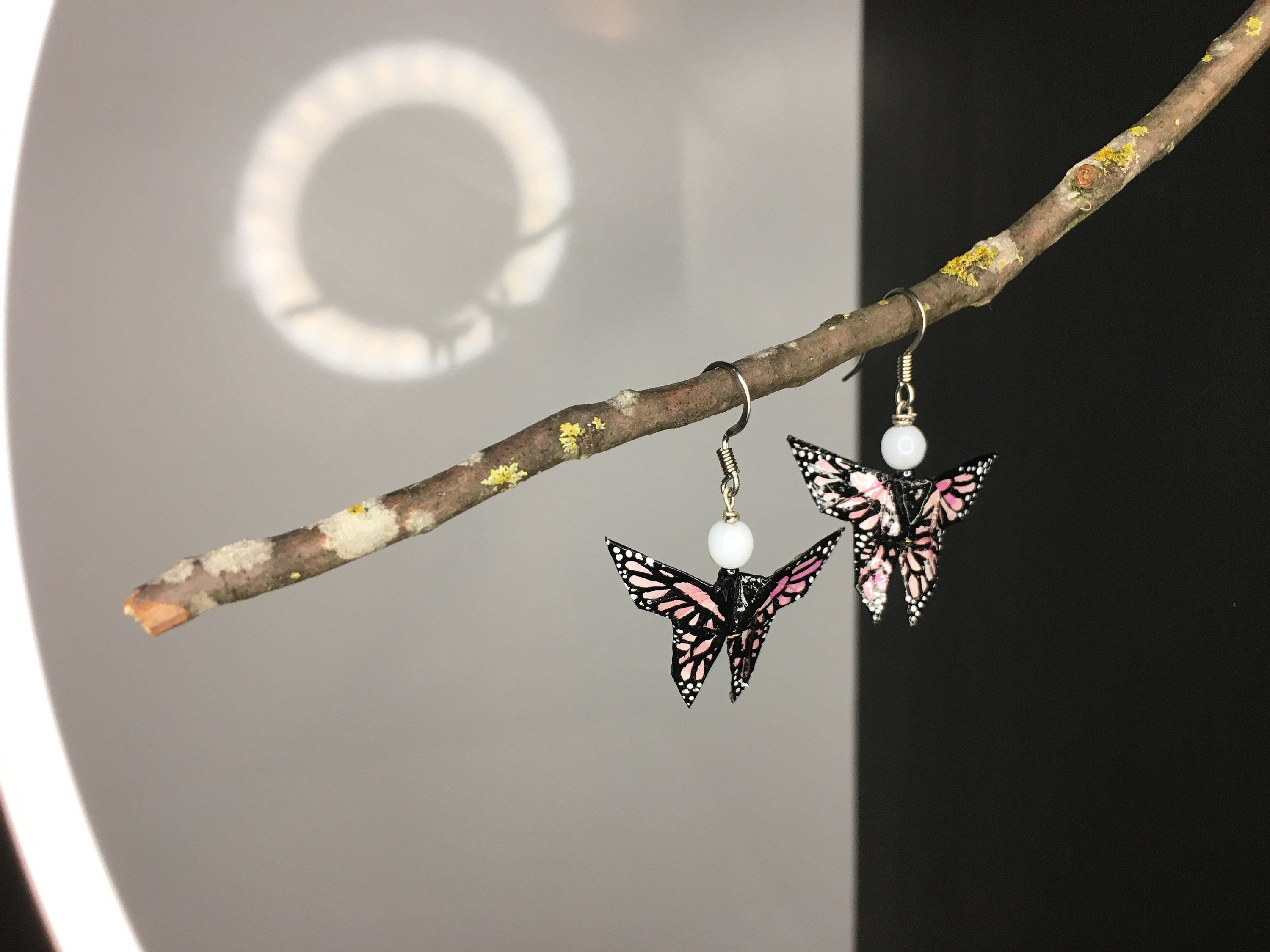 Photo of Painted Origami Butterfly Earrings