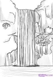 Pencil Waterfall Drawing Waterfall Drawing Waterfall Sketch