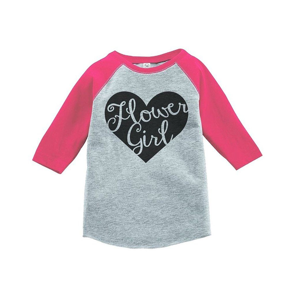 Custom Party Shop Baby Girl\'s Black Heart Flower Girl Wedding Raglan ...