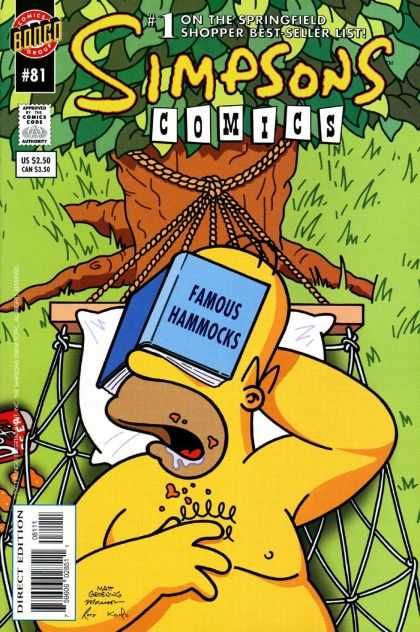 Simpsons Comics 81 - Hammocks - Homer Simpson - Famous - Bongo - Drool - Bill Morrison, Matt Groening