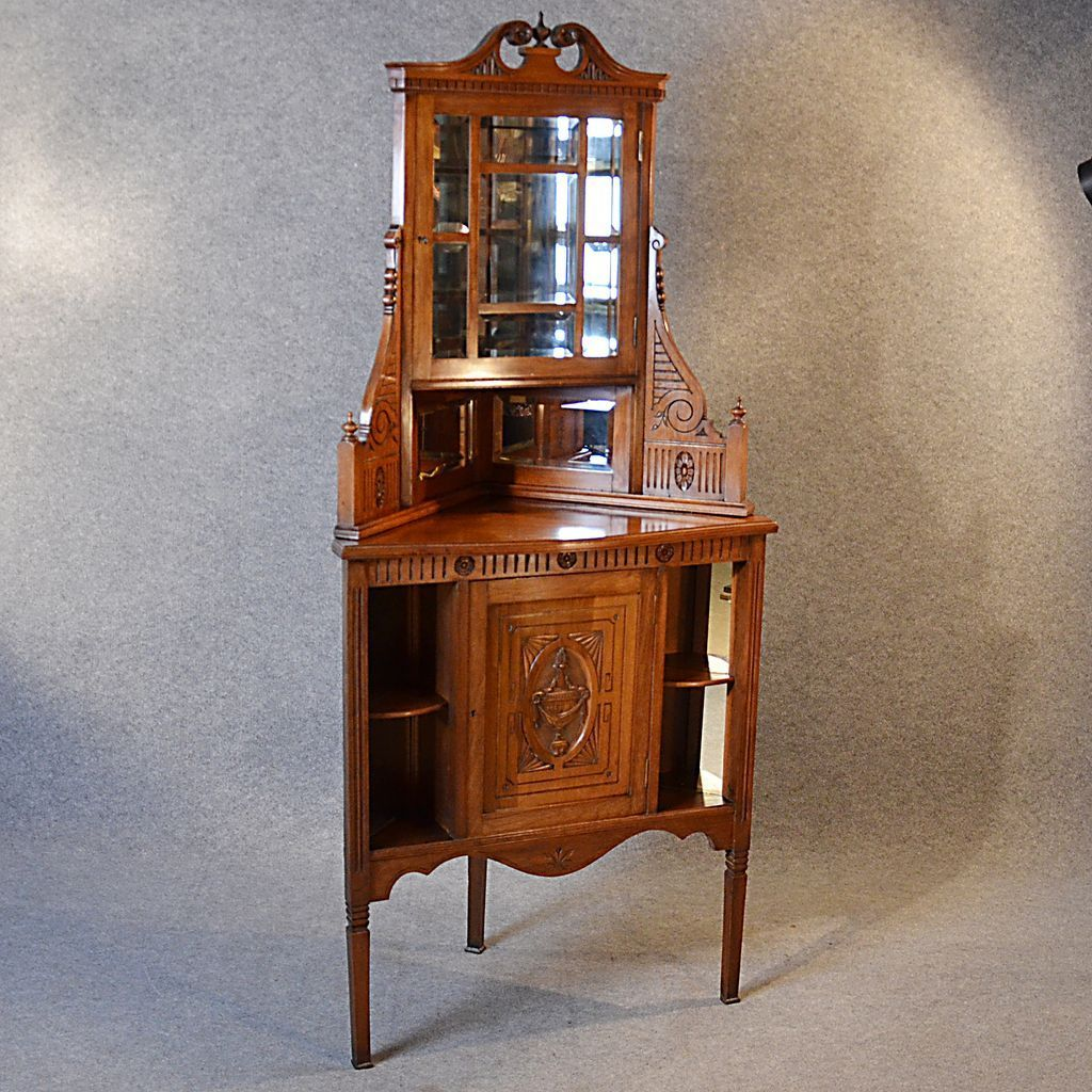 Antique Corner Cabinet China Display Cupboard Victorian Walnut English c1880 - Antique Corner Cabinet China Display Cupboard Victorian Walnut