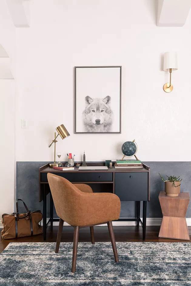 This Compact Home Desk Setup Includes The Perfect Zoom Background Hunker In 2020 Home Office Space Shared Home Offices Inspired Homes