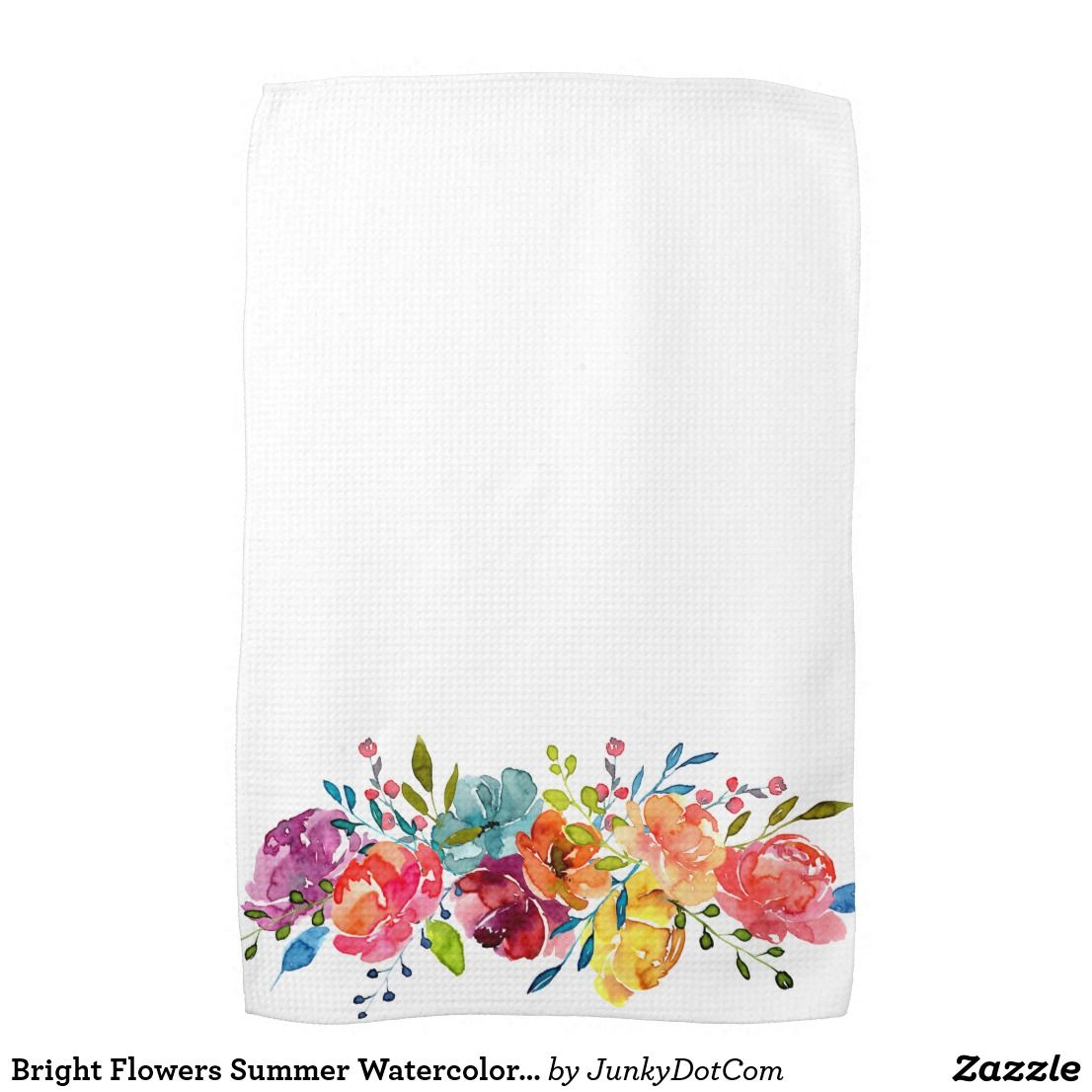 Bright Flowers Summer Watercolor Peonies Towel Zazzle Com
